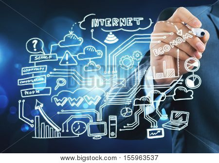 Close view of businessman drawing on screen plan for successful business