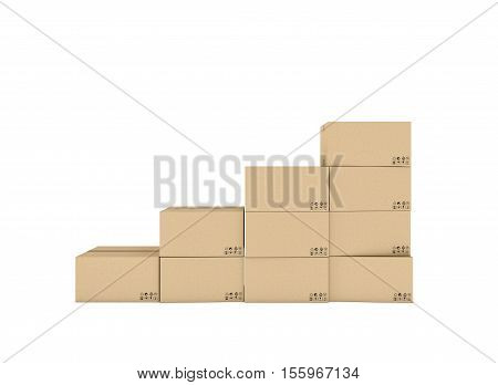 3d rendering of isolated light beige mail cardboard boxes put together in the shape of stairs isolated on a white background. Postal services. Packing and crating. Storage of different products.