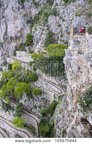 Via Krupp Road Winding Along the Cliff in Capri Italy