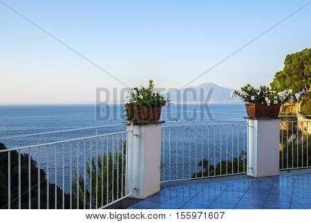 View of Mount Vesuvius from a Balcony in Sorrento Italy
