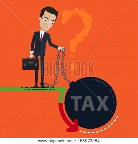 A businessman or manager pensive revenues fell leg chained to a huge tax in the hands holding a chain and portfolio space for posters Vector illustration in flat cartoon style isolated from the background EPS 10
