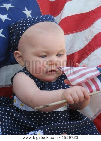 Patriotic Baby With Flag