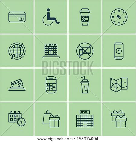 Set Of Airport Icons On Appointment, Present And Forbidden Mobile Topics. Editable Vector Illustrati