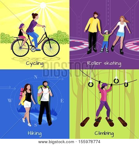 Active leisure concept with different recreations and activities in flat style vector illustration
