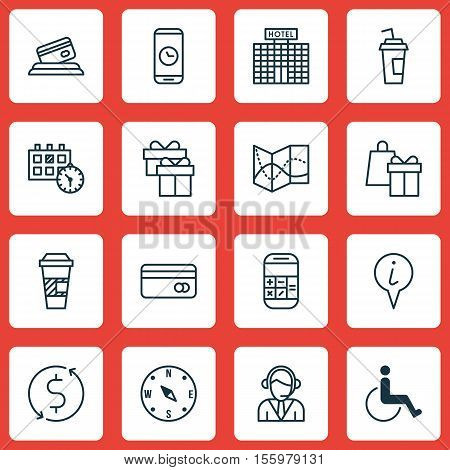 Set Of Airport Icons On Drink Cup, Shopping And Locate Topics. Editable Vector Illustration. Include