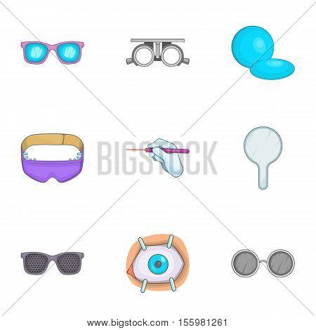 Treatment vision icons set. Cartoon illustration of 9 treatment vision vector icons for web