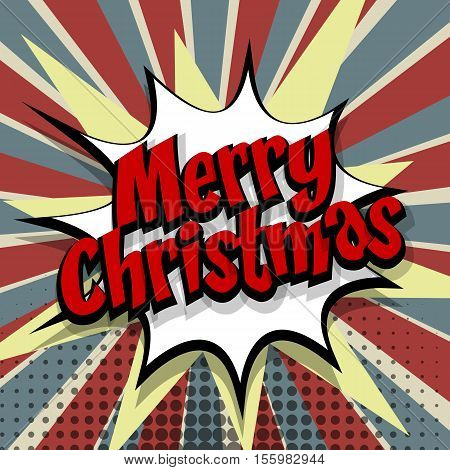 Merry Christmas. Speech comic bubble text colored background. Pop art style vector illustration. Retro burst expression speech pop art bubble cloud explosion. Boom communication graphic talk humor
