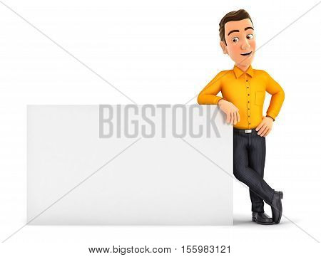 3d man leaning against white wall illustration with isolated white background