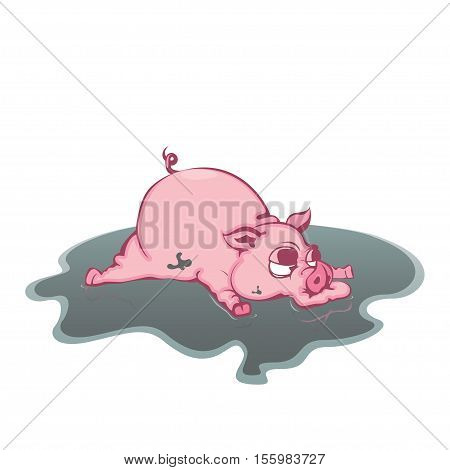 Dirty pig in the mud Vector illustration in flat cartoon style isolated from the background