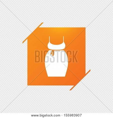 Pregnant woman dress sign icon. Maternity clothing symbol Orange square label on pattern. Vector