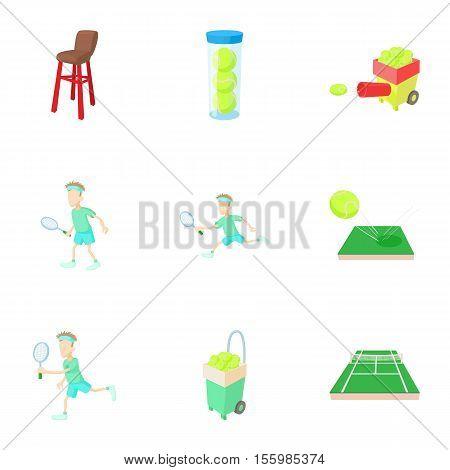 Tennis sport icons set. Cartoon illustration of 9 tennis sport vector icons for web