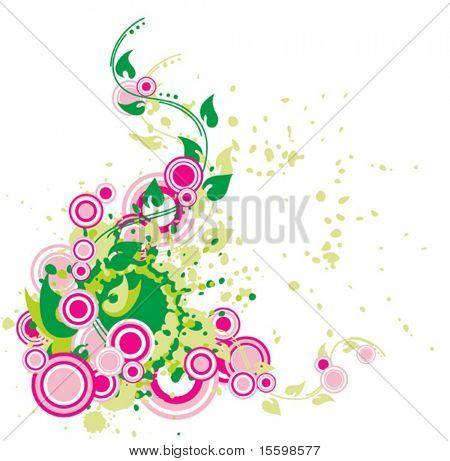 composición de la flora abstracto con florituras y círculos