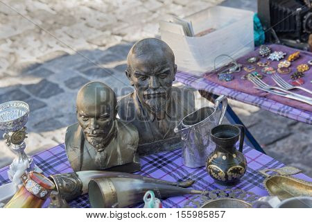 Kiev Ukraine - August 27 2016: Bust of Lenin on sale at a flea market on the street Andrew's Descent
