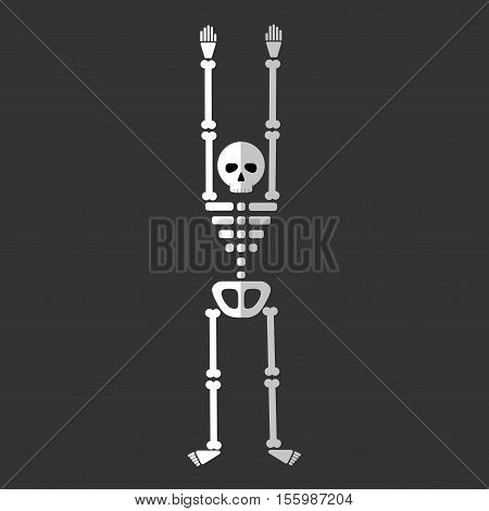 Flat Skeleton Cartoon Icon Isolated Vector Illustration. Cartoon Symbol In Material Flat Style Desig