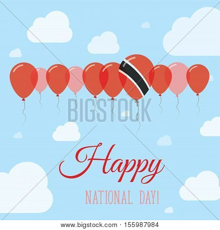 Trinidad And Tobago National Day Flat Patriotic Poster. Row Of Balloons In Colors Of The Trinidadian