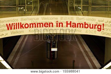 Hamburg, Germany - November 4, 2016: Welcome to Hamburg board in Hamburg airport, Germany.