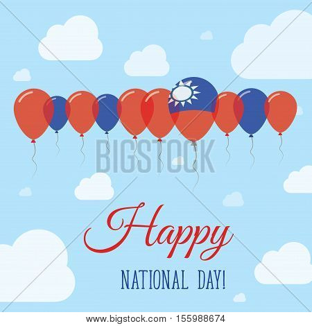 Taiwan, Republic Of China National Day Flat Patriotic Poster. Row Of Balloons In Colors Of The Taiwa