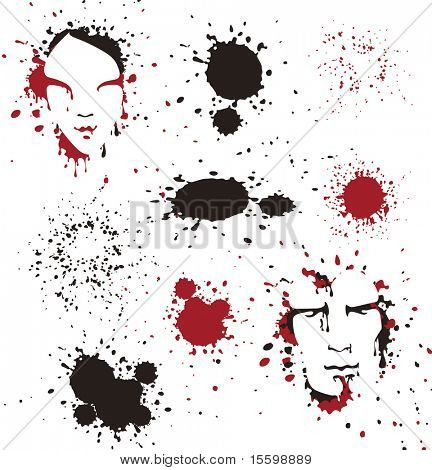 man's and women's faces in ink,blood spots