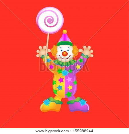 clown with a big lollipop vector illustration in flat cartoon style isolated from the background