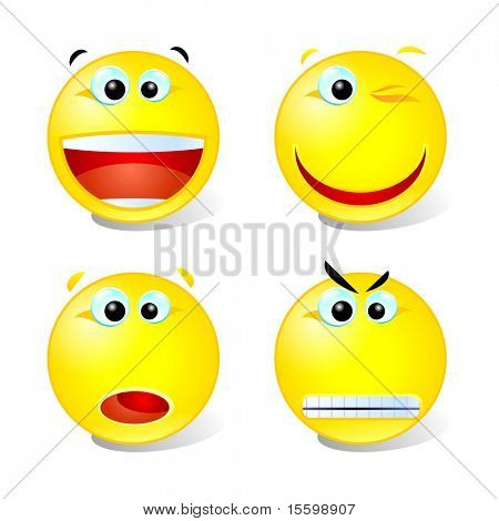 cheerful,winking,surprised and angry smileys