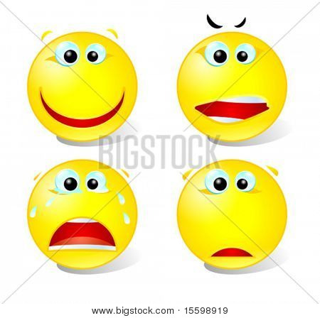 vector  smiling,crazy,crying and sad smiley