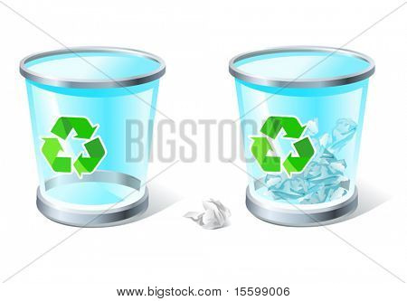three-dimensional transparent trash bins (full & empty