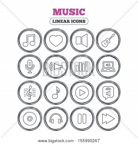 Music icons. Musical note, acoustic guitar and microphone. Notebook, dynamic and headphones symbols. Circle flat buttons with linear icons. Vector