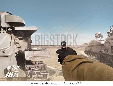 First person view soldier hand in black battle gloves & tactical jacket holding a ready to use gun on desert tank war scene with health & armor indicator.