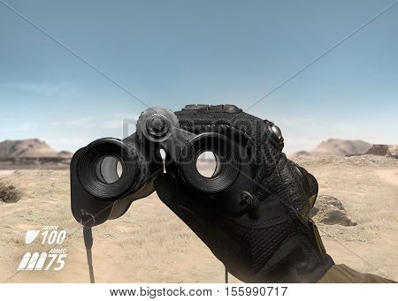 First person view view soldier hand in black battle gloves & tactical jacket holding binoculars on desert war scene with health & armor indicator.