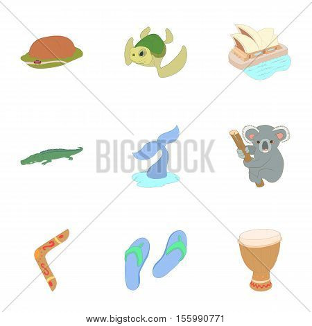 Holiday in Australia icons set. Cartoon illustration of 9 holiday in Australia vector icons for web