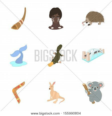 Attractions of Australia icons set. Cartoon illustration of 9 attractions of Australia vector icons for web