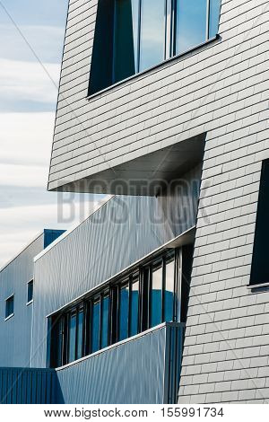 Geometric architectural lines of an industrial building