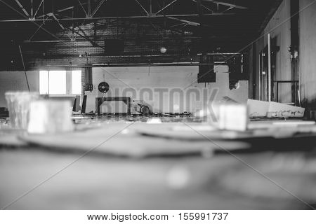 Old abandoned factory with water leakage and vandalism