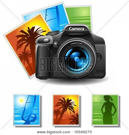 Vektor-Fotokamera mit 3 Bildern