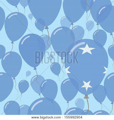 Micronesia, Federated States Of National Day Flat Seamless Pattern. Flying Celebration Balloons In C