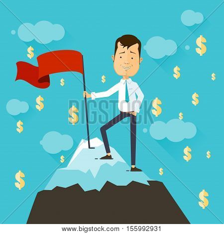 Businessman with flag on a Mountain peak success and mission Business target and victory and motivation winner on top. Flat style success image