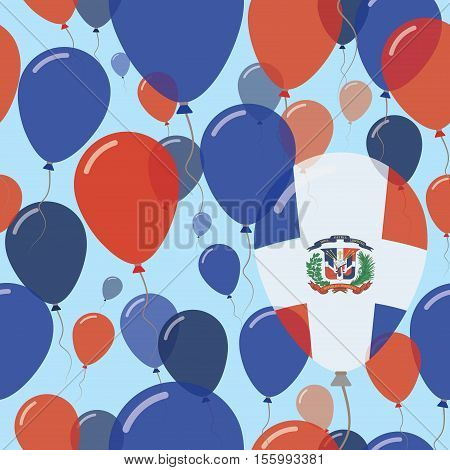 Dominican Republic National Day Flat Seamless Pattern. Flying Celebration Balloons In Colors Of Domi