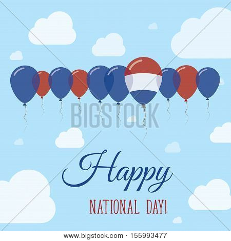 Bonaire, Sint Eustatius And Saba National Day Flat Patriotic Poster. Row Of Balloons In Colors Of Th