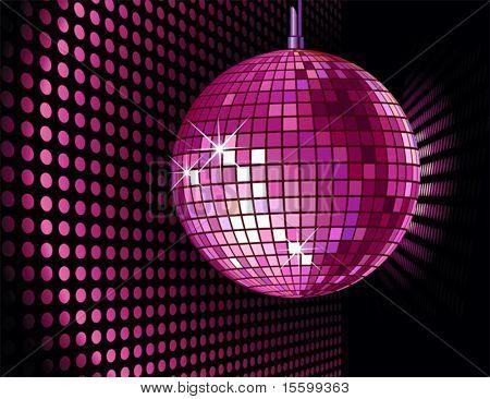 Vector fondo con bola de discoteca para la fiesta de San Valentín
