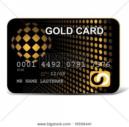 vector gold credit card layout