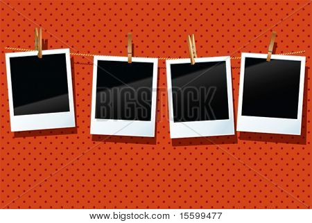 vector photo frames are hanging  in a row