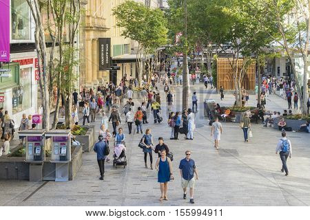 Brisbane, Australia - September 26, 2016: View of people in the busy Queen Street Mall, a vibrant shopping and lifestyle precinct with flagship stores, located at Queen Street in Brisbane City.