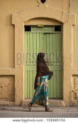 DIRE DAWA, ETHIOPIA-APRIL 16, 2015: Unidentified Somali woman walks on the streets of Dire Dawa, Ethiopia, near the Somali border