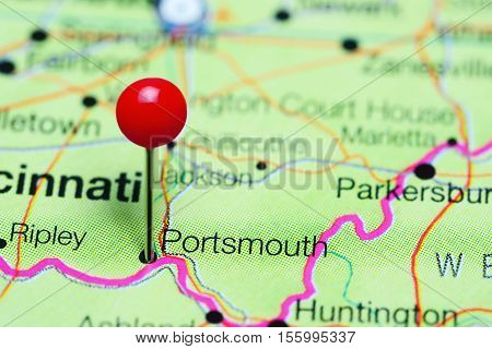 Portsmouth pinned on a map of Ohio, USA
