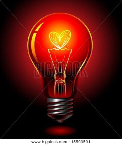 vector bulb, love concept