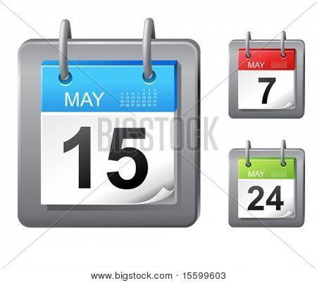 icono de calendario de vector (3 colores)