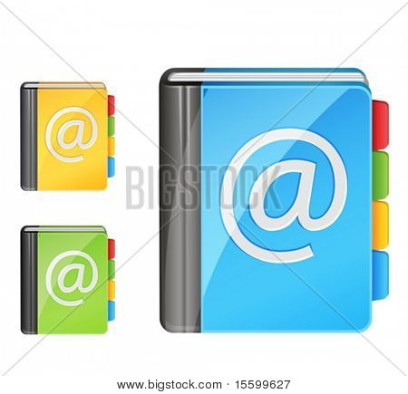 vector address book icon, 3 colors