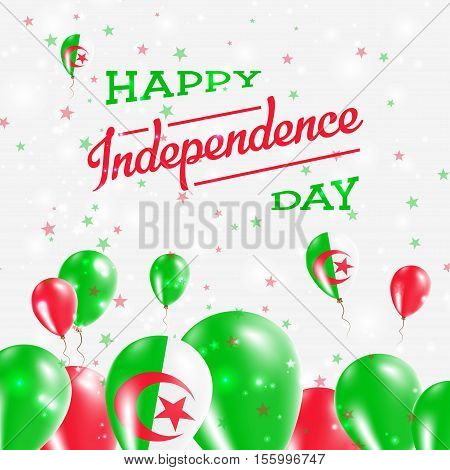 Algeria Independence Day Patriotic Design. Balloons In National Colors Of The Country. Happy Indepen