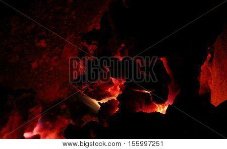 Hot red coal in furnace. Dark colors