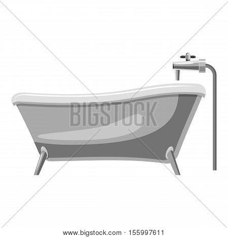 Bathtub icon. Gray monochrome illustration of bathtub vector icon for web design